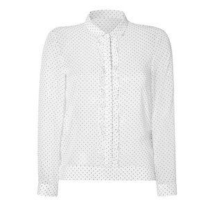 The Kooples White Swiss Dot Ruffle Sheer Top XS